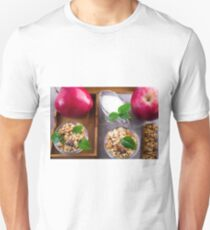 Top view of oat cereal with walnuts and raisins T-Shirt