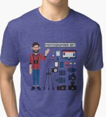 Professional Photographer Set - Cameras, Lenses and Photo Equipment Tri-blend T-Shirt