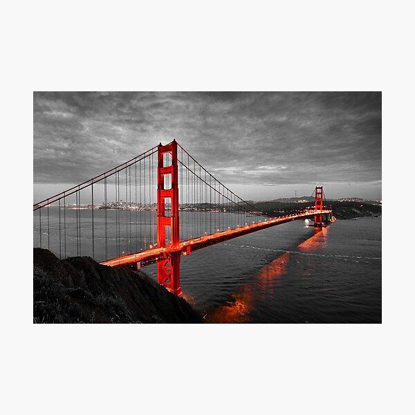 Golden Gate Bridge Hand colored Monochrome Photographic Print