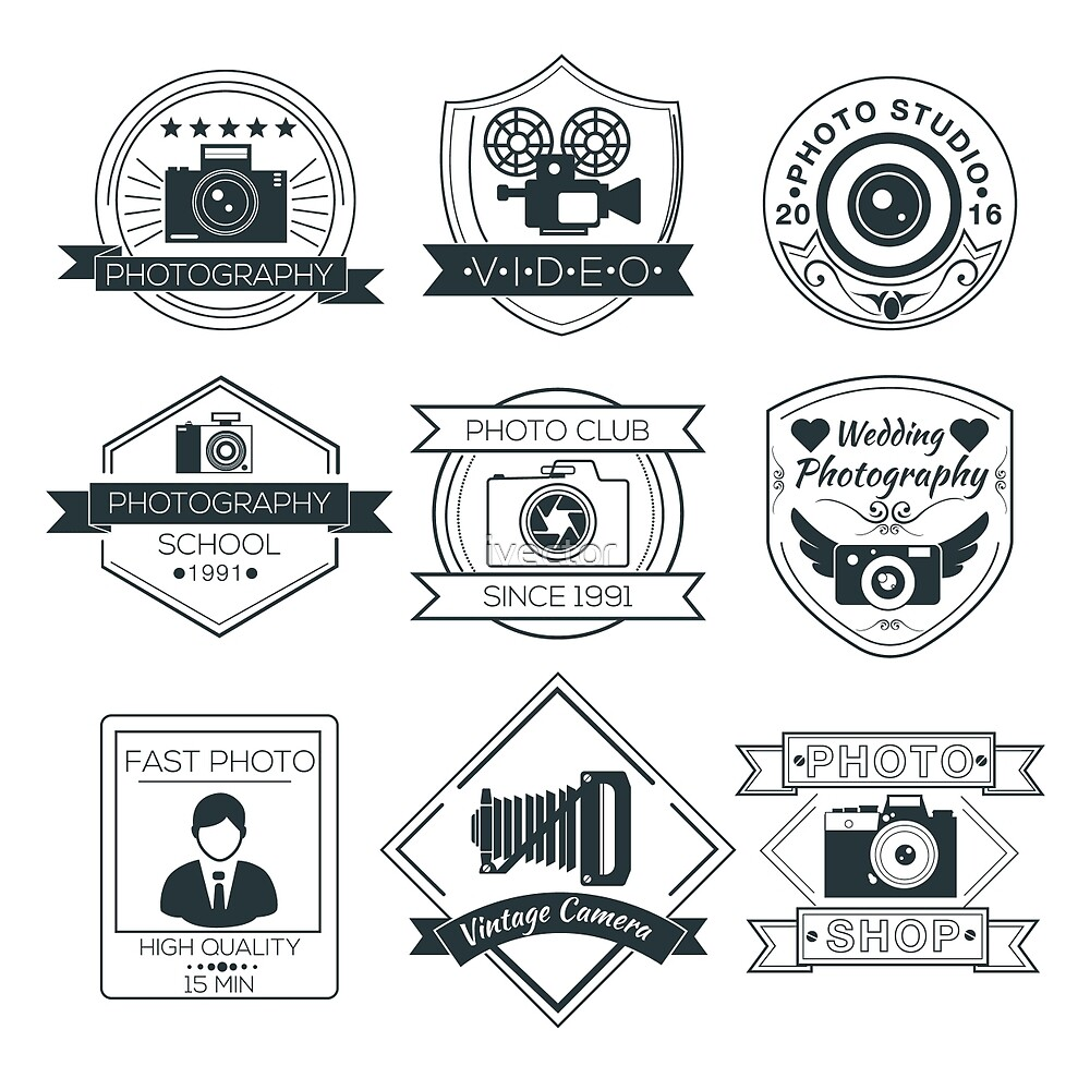 Vector Set of Photography Badges by ivector