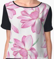 Watercolor lotus pattern Women's Chiffon Top