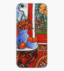 red interior with tropical garden view iPhone Case