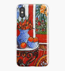 red interior with tropical garden view iPhone Case/Skin