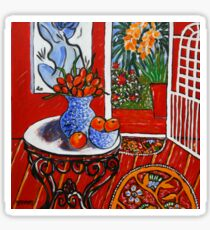 red interior with tropical garden view Sticker