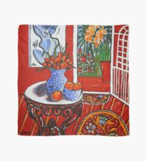 red interior with tropical garden view Scarf