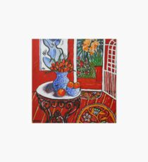 red interior with tropical garden view Art Board