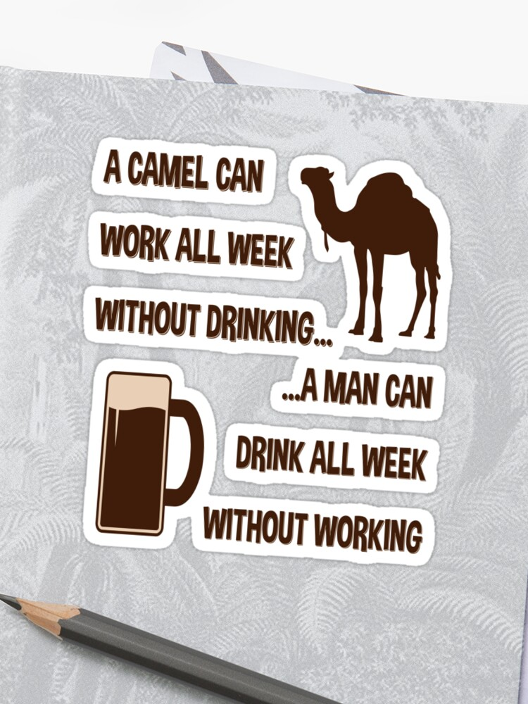 Camel Man Working Drinking Hot Funny Comical Quotes Sticker By Fridayfusion