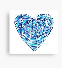 Striped hand drawn heart Canvas Print