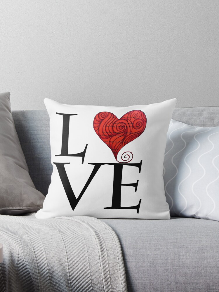 Love Word With Red Zen Heat Design For Valentine S Day Throw