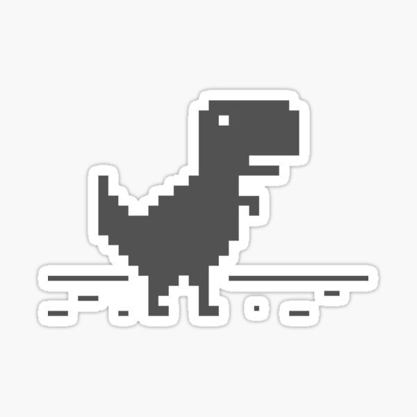 Chrome T-Rex with lines Sticker