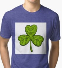 Patrick day good luck three leaf clover. Vintage hand drown color vector engraving illustration for info graphic, poster, web, mobile. Isolated on white background. Tri-blend T-Shirt
