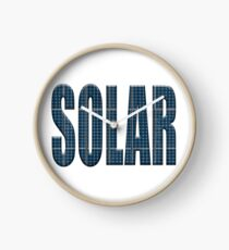 Solar energy photovoltaic panels with the word Solar Clock