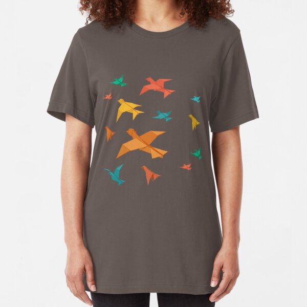 Origami Inspired Urban Style Birds in the Sky Pattern Slim Fit T-Shirt