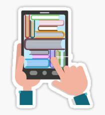 Reading Books. E-Book with Hands. Flat design Sticker