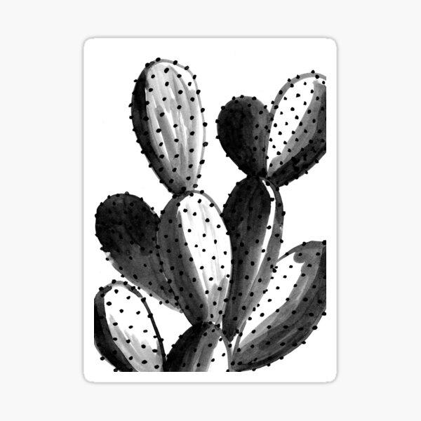 Black and White Cactus Sticker