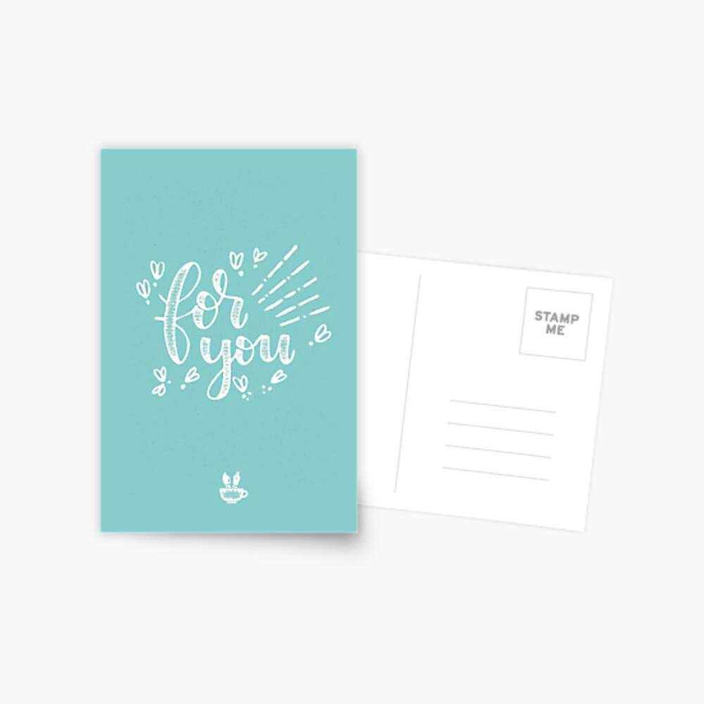 for you Handlettering mit Stempel-Effekt Postkarte