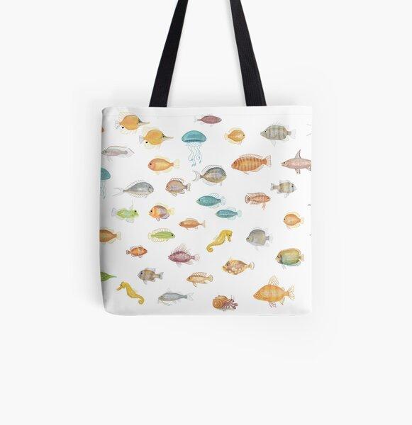 Retro Groovy Aquarium Fish Pattern  All Over Print Tote Bag