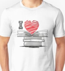 I Love Heart Books Readers Writers Librarians Unisex T-Shirt