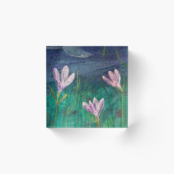 Wild Crocus Embroidery Art By Juliet Turnbull Acrylic Block