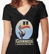 VINTAGE GUINNESS TOUCAN Women's Fitted V-Neck T-Shirt