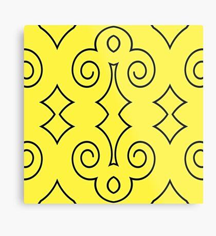 Yellow with Curls of Black by Julie Everhart Metal Print