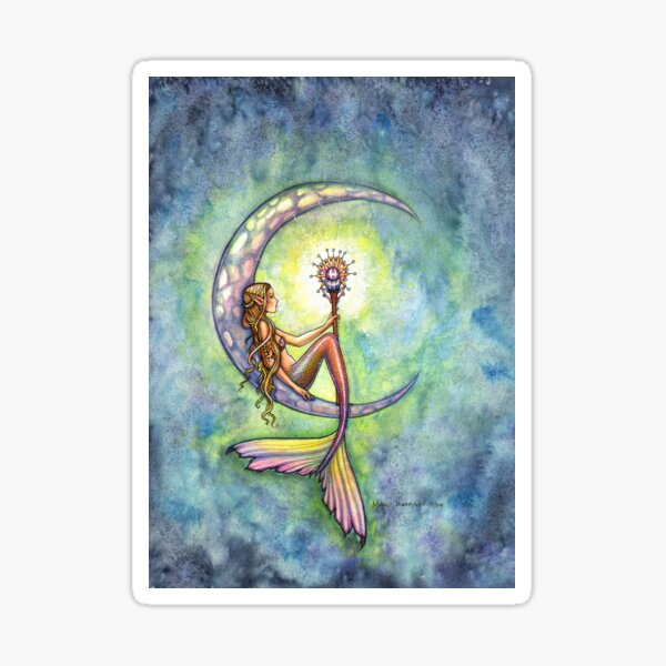 """Mermaid Moon"" Mermaid Art by Molly Harrison Sticker"