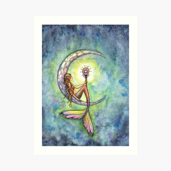 """Mermaid Moon"" Mermaid Art by Molly Harrison Art Print"