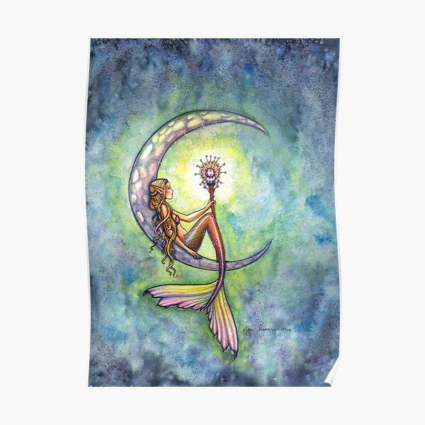 """Mermaid Moon"" Mermaid Art by Molly Harrison Poster"