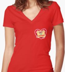 ##digistickie Heart Out of Order Women's Fitted V-Neck T-Shirt
