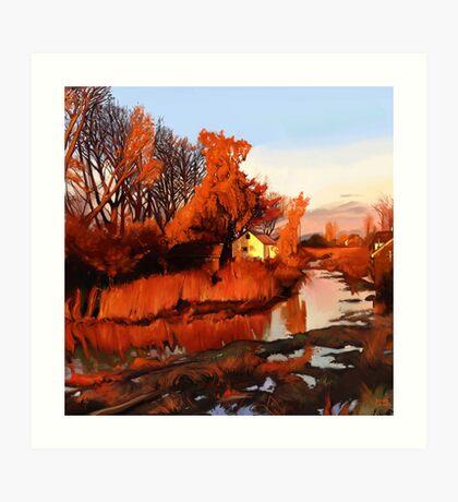 Finn Slough in Autumn Art Print