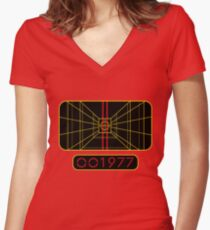 STAY ON TARGET 1977 TARGETING COMPUTER Women's Fitted V-Neck T-Shirt