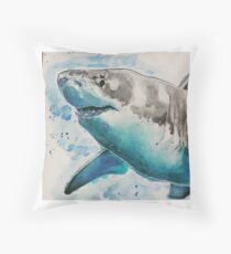 Watercolour shark Throw Pillow