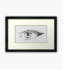 Black And White Digital Sketch Of Human Eye Framed Print