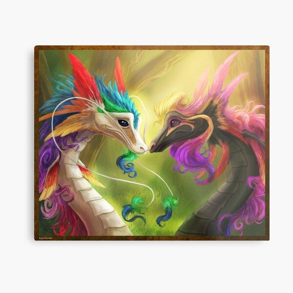 Horatio and Elysia - Rainbow dragons Metal Print