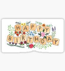Scrabble Happy Birthday Sticker