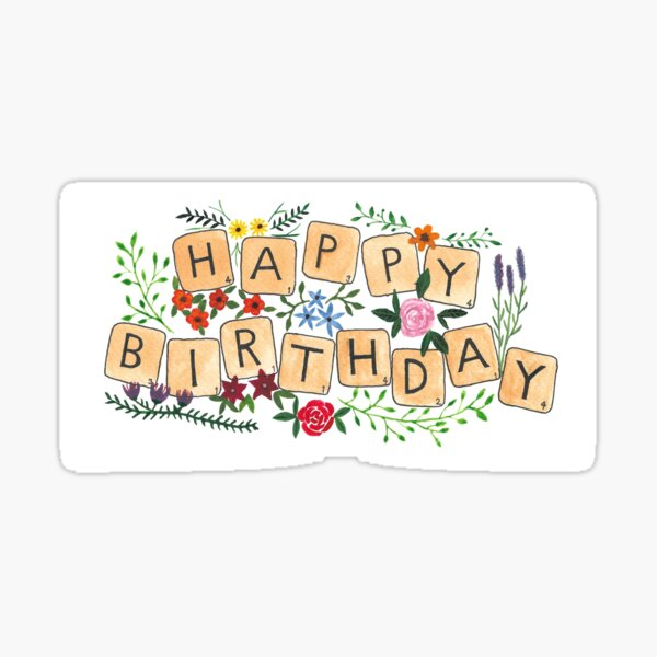 Scrabble Happy Birthday Pegatina