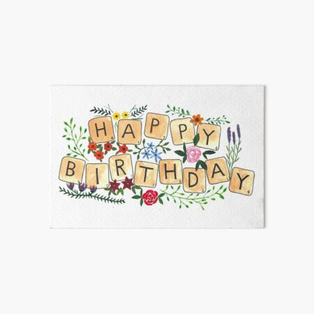 Scrabble Happy Birthday Art Board Print