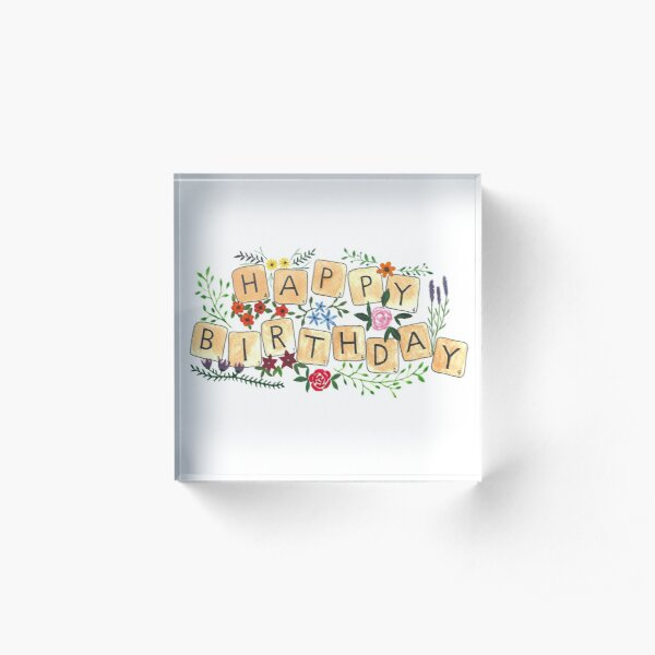 Scrabble Happy Birthday Acrylic Block