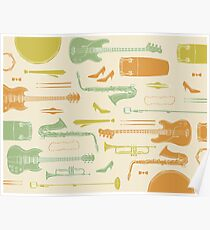 Vintage Soul Music Instrument Collage Poster
