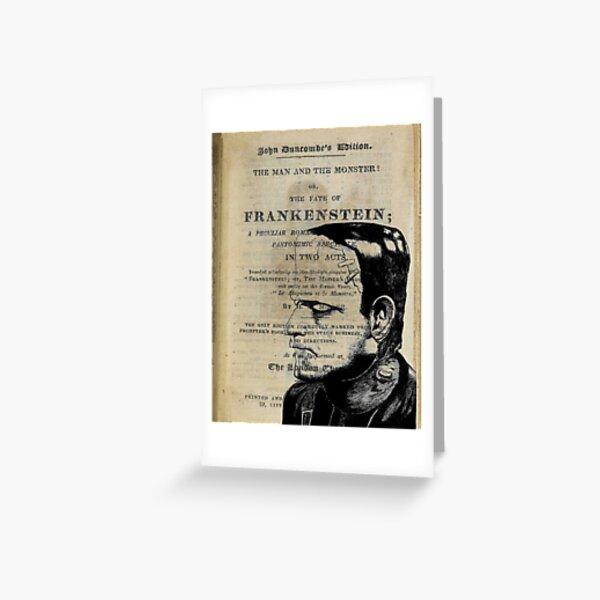 Frankenstein Book Page Illustration  Greeting Card