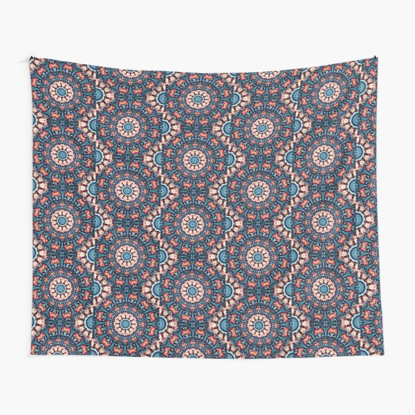 Red and Blue Kaleidoscope Tapestry