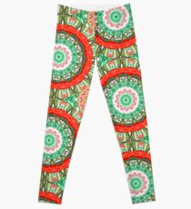 Watermelon Floral Kaleidoscope Leggings