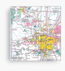 Denver Colorado Map Metal Print