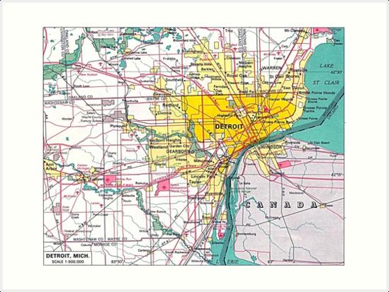 'Detroit Michigan Map' Art Print by everything-shop