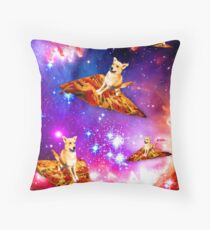 Harvey the Pizza Dog Flying in Space Throw Pillow
