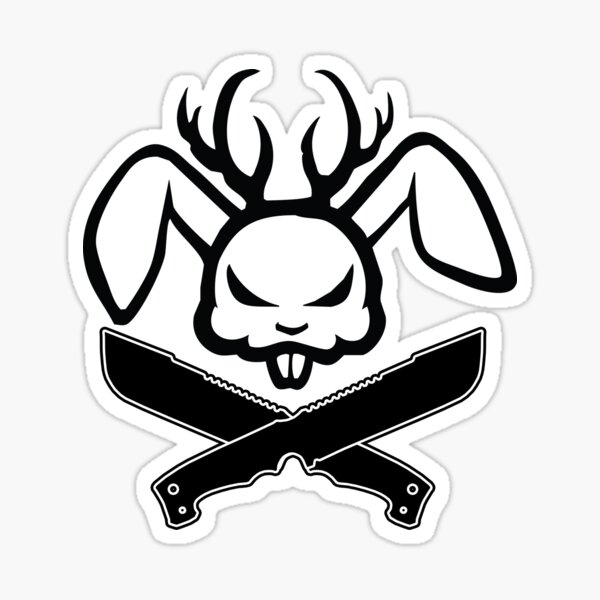 Angry Jackalope Logo Crossed Blades Sticker