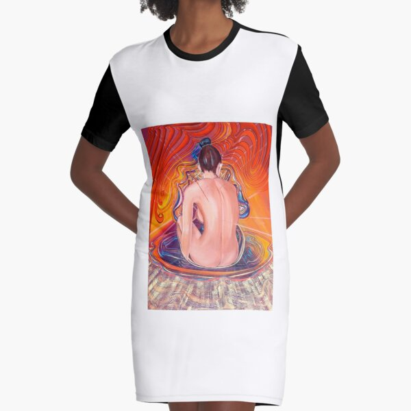 Acupuncture Energy Graphic T-Shirt Dress