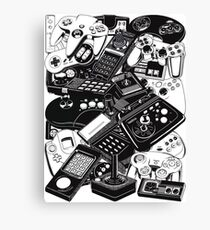 Old video game controllers Canvas Print