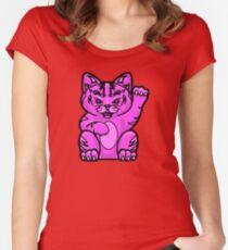 Lucky Cat - Fierce Pink Pussy Cat T-Shirt Women's Fitted Scoop T-Shirt