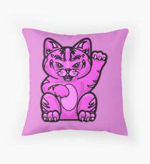 Lucky Cat - Fierce Pink Pussy Cat T-Shirt Throw Pillow